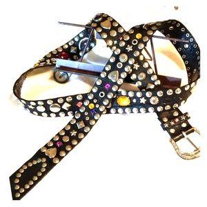 Black Vintage Multi Stoned Leather Belt. M/L